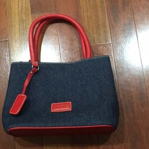 Jean and leather purse